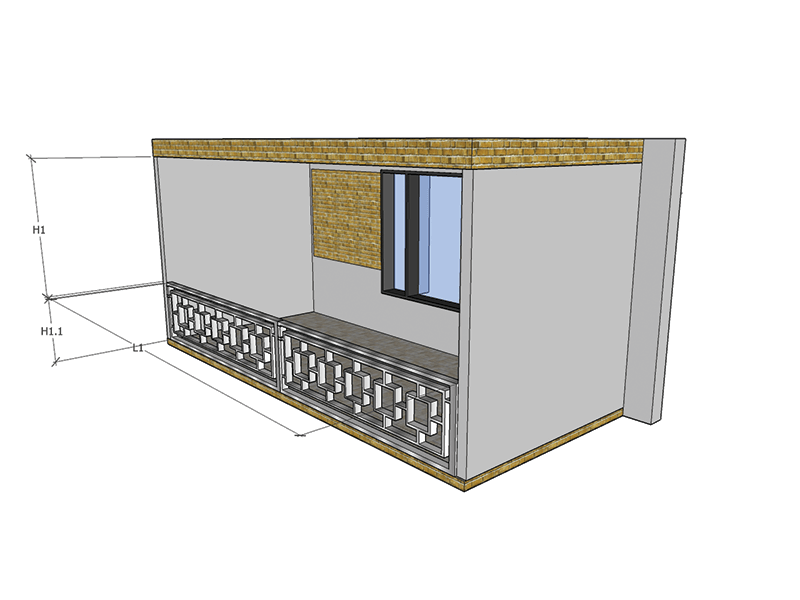Balcon 1 Laturi Balustrada Interioara
