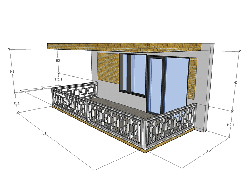 Balcon 3 Laturi Balustrada Interioara